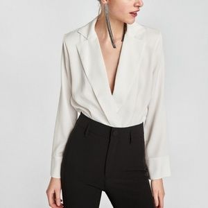 Zara bodysuit with lapel collar